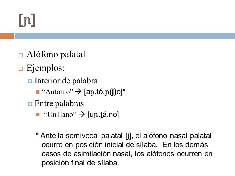 [ɲ] Alófono palatal Ejemplos: Interior de palabra Entre palabras